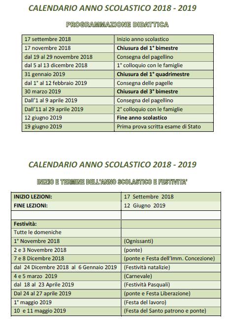 Calendario Con Festivita 2019.Calendario Scolastico 2018 2019 Iiss Augusto Righi Taranto