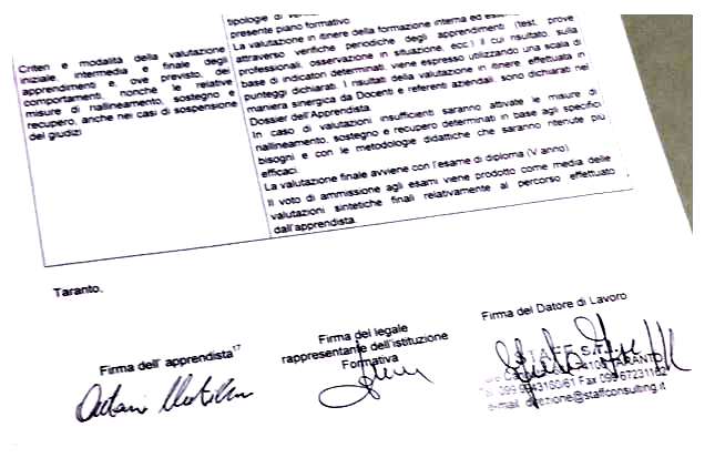 APPRENDISTATO: LA SFIDA VINCENTE DELL'INDIRIZZO MECCANICA  DELL'I.I.S.S RIGHI DI TARANTO